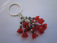 Keyring / Bag Charm - Red Flowers / Poppies