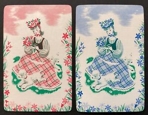 Pair of Vintage Swap/Playing Cards - SWEET LITTLE LADIES WITH LAMBS