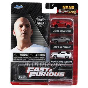 "JADA 32482 NANO HOLLYWOOD RIDES FAST & FURIOUS 1.65"" DIECAST CARS 3 PIECE SET"