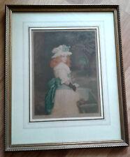 Signed Will Henderson Mezzotint 1911 C Klackner Engraving Print Girl Framed Vtg