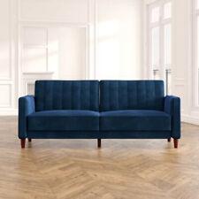 Modern Velvet Sleeper Sofa Couch (BLUE)