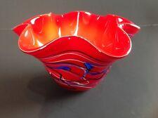 Murano Art Glass Cased Handkerchief Vase Red with Blue/White/Black Swirls