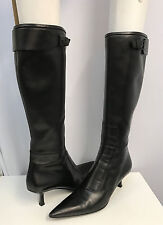 "GUCCI LEATHER BOOTS BLACK BUCKLES SAY ""GUCCI"" COMES WITH BOX SIZE 10 B"
