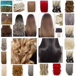 Long Hair Extension Weft 1 3 or 8 Piece Hairpiece Clip-in Straight Curly Various