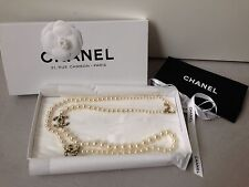 """NEW Chanel Classic Big CC Logo Pearl Necklace 42"""" Crystal Gold Plated"""