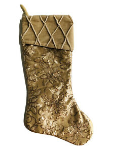19.5 In Gold  Floral Sequined Velvet Christmas Stocking