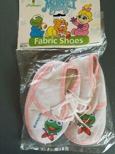 Muppet Babies Kermit Fabric Shoes 1995 Jim Henson Girl Infant BK 712 Vintage