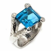 Blue Topaz Natural Gemstone Handmade 925 Sterling Silver Ring Size 7 R-71