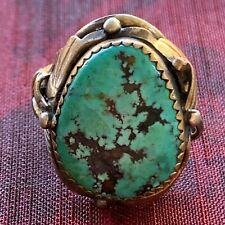 NATIVE AMERICAN STERLING SILVER and TURQUOISE MEN'S RING NAVAJO BILLIE EAGLE