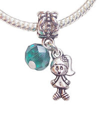 5PCs May Birthstone Little Girl Baby Crystal Dangle Gift fits Charm Bracelets