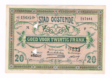 20 Fr  STAD  OOSTENDE   21-06-1916    Noodgeld   WW I                 UNC
