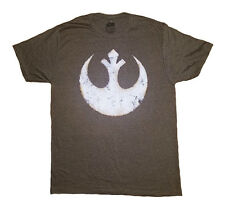 Star Wars Men's Rebel Alliance Battle Damaged Logo Graphic T-Shirt Brown L