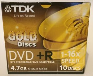 TDK Gold DVD+R Discs - Pack of !0 with Indvidual Wrapped Cases.-