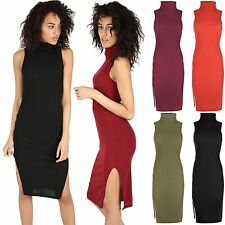 Cowl Neck Stretch, Bodycon Sleeveless Dresses for Women