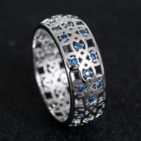 925 Silver Jewelry Round Cut Blue Sapphire Women Wedding Ring Size 6-10