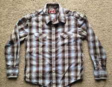 ROCK & ROLL COWBOY Western Shirt Plaid w Cross And Wings Embroidery On Back