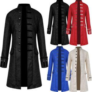 UK Mens Retro Coat Gothic Jacket Frock Coat Steampunk Victorian Steampunk Coat