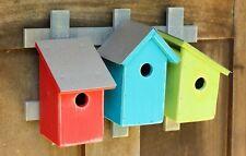 "Birdhouses - ""Covington Commons"" Wooden Birdhouse Trio On Trellis - Garden Decor"