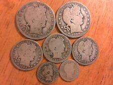 Lot of 7 - Us Barber Silver Coins - Half Dollar, Quarters, Dimes