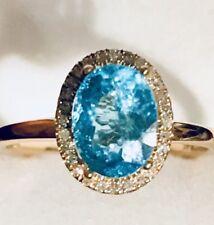 Natural Paraiba  Apatite Neon Blue & Diamond Oval Cut Yellow  Gold