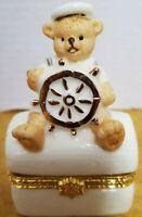 Sailor Teddy Bear Porcelain Trinket Box Formalities By Baum Bros Gold Trim