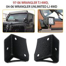 97-06 Jeep Wrangler TJ LED Light Windshield A-Pillar Mount Brackets Kits