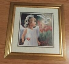Home Interiors Little Girl Angel and Dove Framed Picture Laurie Snow Hein 2003