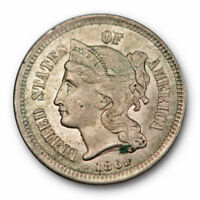 1865 Three Cent Nickel About Uncirculated to Mint State US Coin Rim Cuds #341