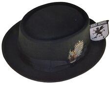 Stacy Adams Porkpie Wool Felt Fedora Hat-black-small