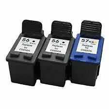 3 Remanufactured Ink Cartridges for 2x HP 56 C6656A Black +1x HP 57 C6657A Color