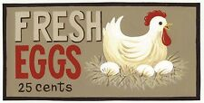 FRESH EGGS 5C country primitive kitchen vintage chicken hen farmhouse decor sign