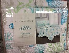 Coastal Ocean Beach Theme 3 piece Full/Queen Quilt Set Blue Green White Gray
