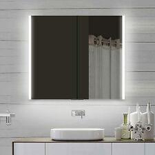 Design Spiegelschrank mit Alu-Rahmen Badspiegel Lichtspiegel 80x70cm LLC80X70