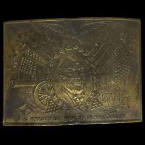 President Abraham Lincoln Military Memorial Civil War Eagle 70s Vtg Belt Buckle