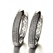HUCHE Stunning Paved Lab Diamond Sapphire Heart Shape Hoop Women Lady Earrings