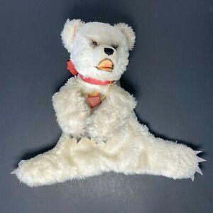 VTG Steiff Polar Bear Mohair Glass Eye Hand Zipper Puppet Germany FAO Schwarz