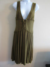Free People L moss green peasant fairie dress nwot flowing skirt laced corset