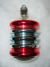 "Vintage Mercury Glass Red Blue Striped 3.5"" Lantern Accordion Christmas Ornament"