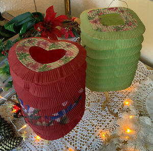 Pair of Vintage Chinese Hanging Paper Lanterns - 1950s Christmas - Hand Painted