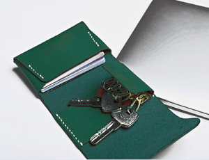 man women card wallet purse key case ring holder cow Leather pouch bag green 617