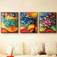 3Pcs Colorful Tree Art Oil Painting Canvas Print Unframed Home Wall Picture