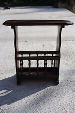 Massive Wooden Vintage Magazine Newspaper Basket Side Table Plant stand #722