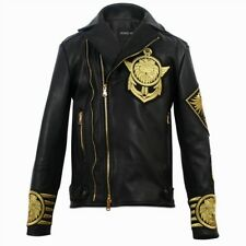 New Men BALMAIN X H&M Black Gold Metal Embroidered Lion Leather Jacket