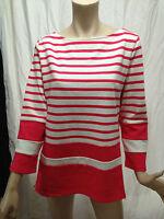 BNWT Womens Sz L 14 16 Mix Brand Pink/White Stripe Boat Neck 3/4 Sleeve Jumper