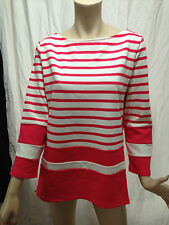 BNWT Womens Sz XL 16/18 Mix Brand Pink/White Stripe Boat Neck 3/4 Sleeve Jumper