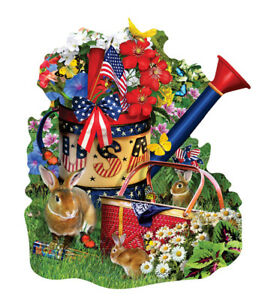 Jigsaw Puzzle Watering Can Summer  Freeform 1000 pieces NEW Made in the USA
