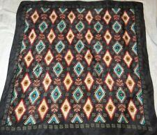 Very Vintage Echo Silk scarf. Southwest design Black, gold, teal, red
