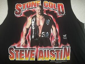 Vintage 2001 WWF Stone Cold Steve Austin TNT Label Large Muscle T-Shirt