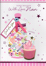 ISABELS GARDEN,NAN BIRTHDAY  CARD,3D HANDMADE,SWEETS & CAKES THEME ,QUALITY(B2)
