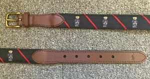 Men's (38) POLO-RALPH LAUREN Denim Bear Leather Striped Belt